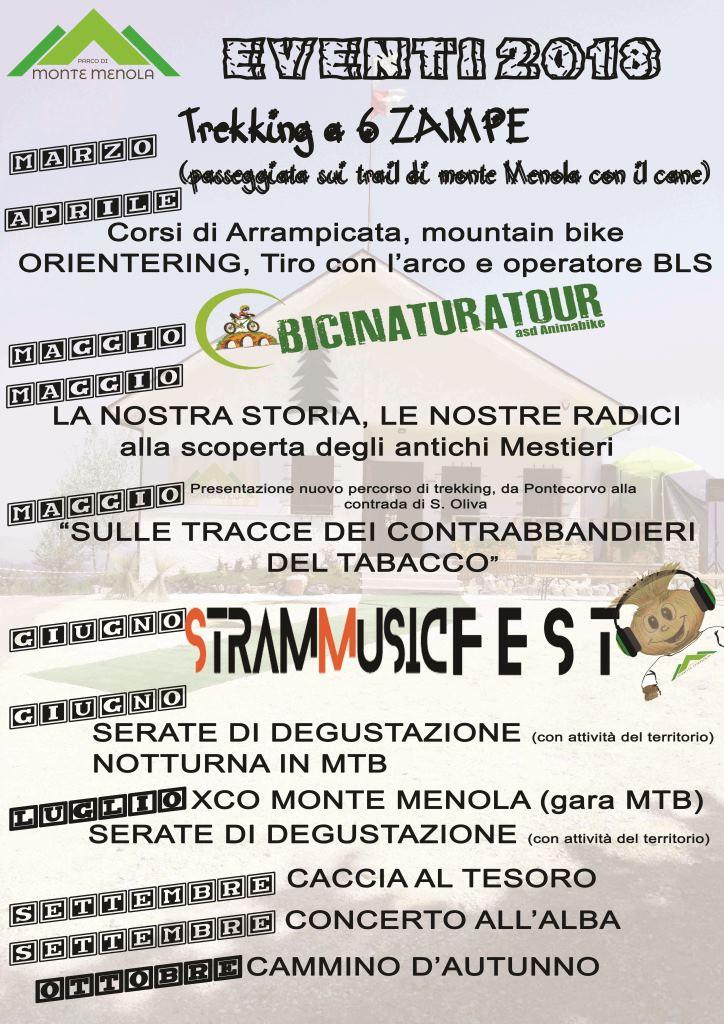 Programma eventi Parco Monte Menola 2018